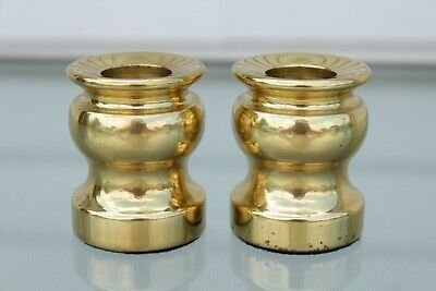 One Pair Of Small Heavy Solid Brass Canadian Candle Holders