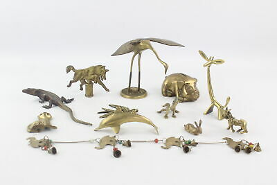 12 x Vintage Decorative BRASS Animals Inc. Giraffe, Pig, Wolf, Crane Etc (3023g)