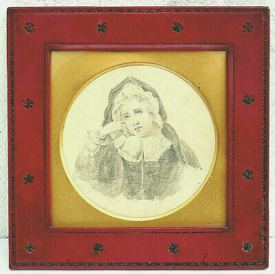 Antique C19th Drawing of Girl in Period Tooled Red Leather Frame Shamrocks c1870