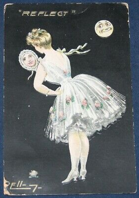 Woman, Party Dress, Reflection In Hand Mirror Postcard 1915 - Embossed