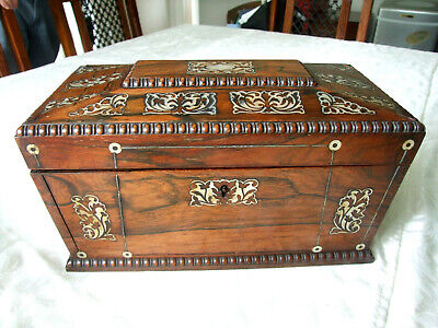 1800's Rosewood Tea Caddy, with Mother of Pearl Inlay, sarcophagus shape