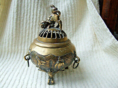 Chinese Brass Incense Burner - Koro, with Temple Lion Finial to Lid