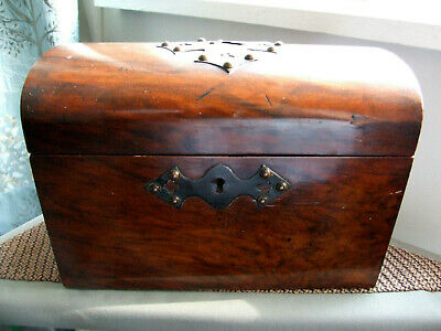 19th Century Walnut Tea Caddy, Domed Lid, No Key