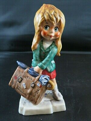 VINTAGE GOEBEL Blonde Traveling Girl with Suitcase MICHAEL T GERMANY
