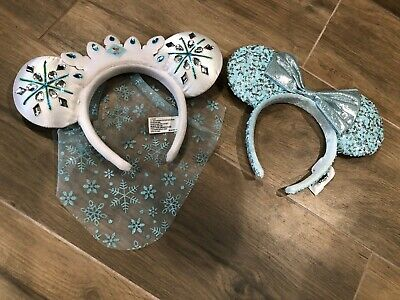 Disney Mouse Ears - 2 Pairs - Elsa from Frozen and Light Blue w/ Sequence