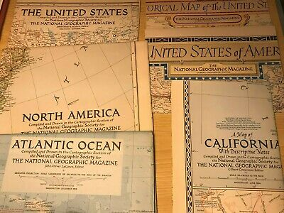 Job Lot 6 x 1950's National Geographic Maps Of North America & Atlantic Ocean.