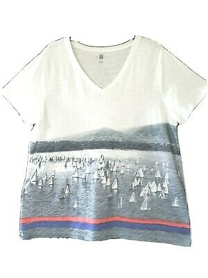 Tommy Hilfiger Women's T-Shirt XL Cotton Sailboats Graphic Black/White/Red/Blue