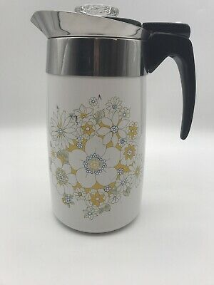 Vintage Corning Ware Electric Percolator Daisy Floral Bouquet - 10 Cup