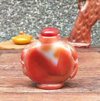 Natural Agate Jade Hand-Carved Statue Snuff Bottles Exquisite 019