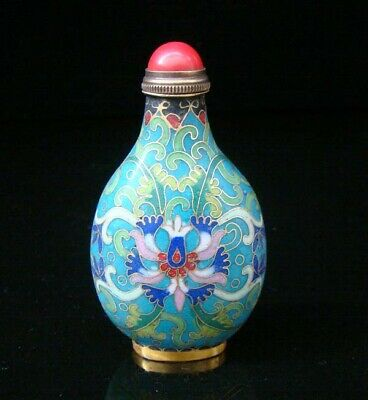 Collectibles 100% Handmade Painting Brass Cloisonne Enamel Snuff Bottles 036