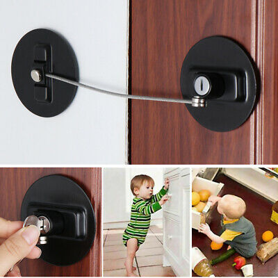 Child Cabinet Lock With-Key Finger Protector Door Stopper Baby Safety Lock