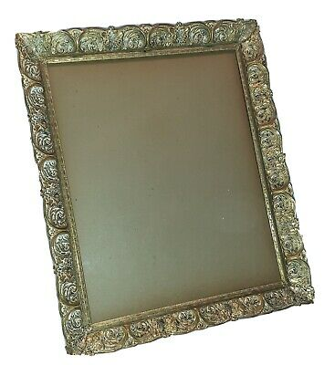 Vintage Mid Century Gold White Washed Metal Filigree Picture Frame 10 x 12