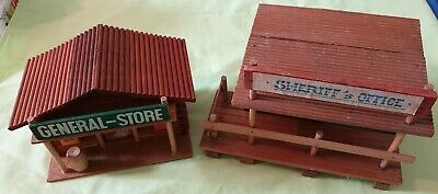 2 DDR Holz Western Haus Oehme & Söhne General Store Sheriffs Office Indianer