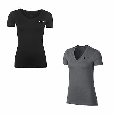 Nike Dri-Fit Victory V Neck T-Shirt Womens Fitness Training Tee Top Activewear