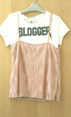 Next Girls Pink Pleated Cami & Graphic Top Age 11 Years BNWT