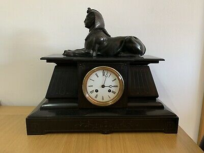 Antique vintage Victorian French Japy Freres Black Sphinx Mantle clock
