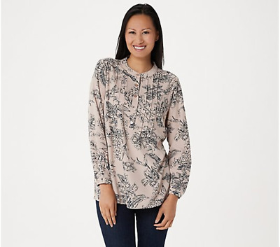 Joan Rivers Floral Print Blouse with Pintuck Detail , Mink/Navy, Size 14