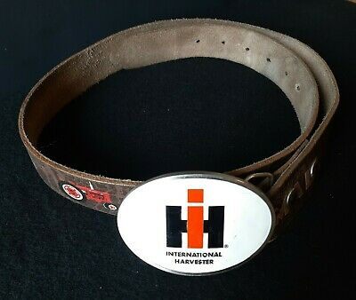 International Harvester McCormick Farmall Tractor Leather Belt with IH Buckle 34