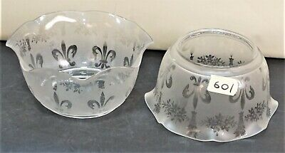 """Pair of Antique  Etched Glass Gas Lamp Chandelier Shades 5"""" fitter"""
