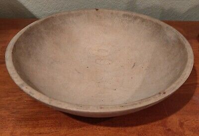 "Vintage MUNISING Wooden 13"" Maple Primitive Dough Or Fruit Bowl"