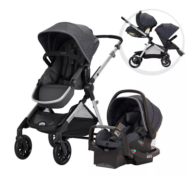Evenflo Pivot Xpand Modular Travel System with Safemax Infant Car Seat Roan