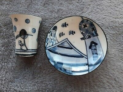 Chinese/Japanese, Oriental Porcelain  Blue And White Cup And Dish. Unusual.