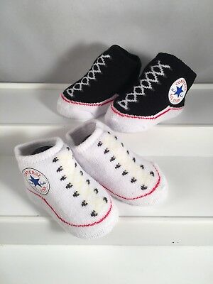 2 Pair Converse Chuck Taylor 0 6 Months Baby Booties Infant Black White Gift B4 617844706076 | eBay