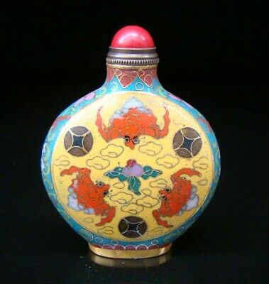 Collectibles 100% Handmade Painting Brass Cloisonne Enamel Snuff Bottles 070