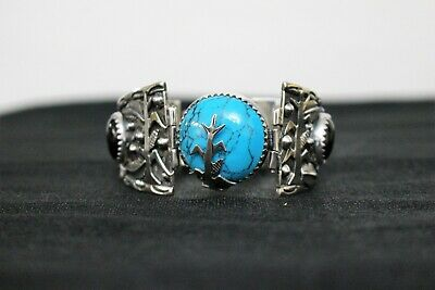 925 Navajo Silver Turquoise and Onyx Bracelet