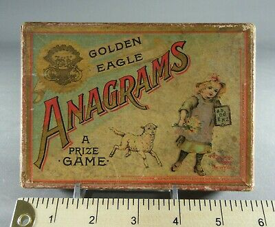 Antique McLoughlin Brothers GOLDEN EAGLE ANAGRAMS Game In Box