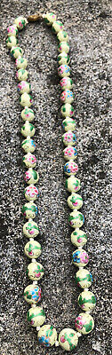 "Antique Old Cloisonne Chinese Hand Knotted Floral 25"" 12Mm Beads"