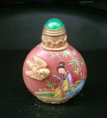 100% Handmade Carved Painting Gilt Snuff Bottles old peking Colored glaze 005