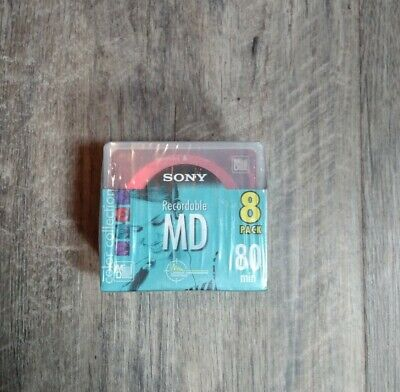 Sony New MiniDisc MD 8 Pack Color Collection Recordable Sealed MD80