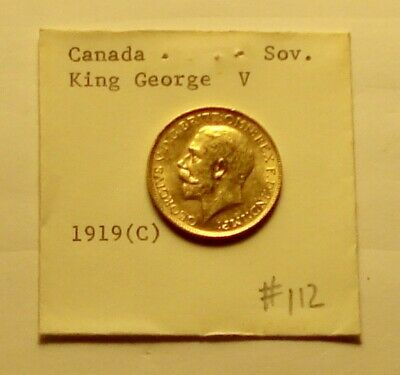 Canada Gold Sovereign 1919-C King George V AU Condition