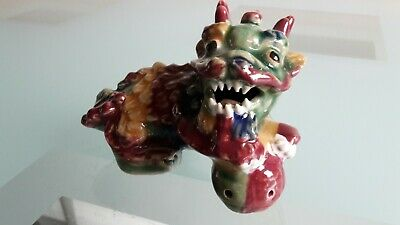 Small Colourful Chinese Ceramic Glazed Foo Dog Figurine