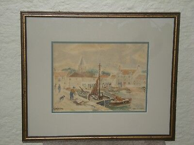 Watercolour by A.A. Gittleson of the Harbour in Anstruther Scotland