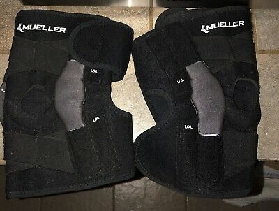 2 Mueller Hinged Knee Braces Size OSFM B56517 Black EUC!