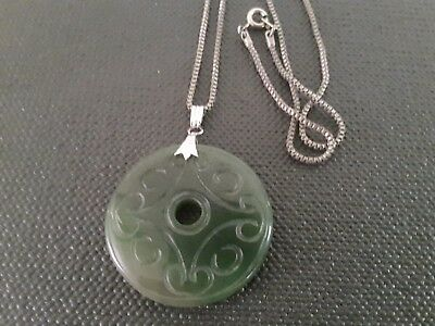 Vintage Jade And Silver ? Chain Pendant / Necklace.