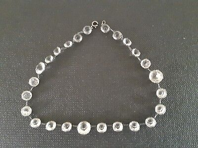 Bezel Set Vintage Silver ? With Crystals ? Lovely Necklace.