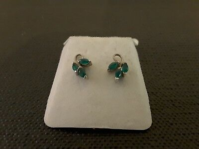 Sterling Silver 925 Stamped Vintage Earrings Each Set With 3 Green Stones.