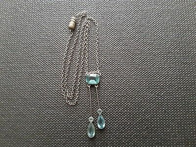 Edwardian Lavaliere Silver 900 Stamped Drop Pendant With 3 Pale Blue Stones.
