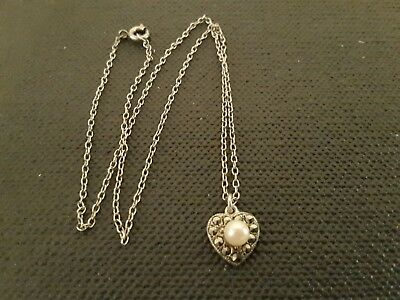Sterling Silver Vintage Marcasite Pendant, Pearl Set With Chain.
