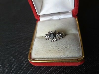 Vintage 925 Stamped Engagement Ring. Sapphire ? And Diamonds ?.