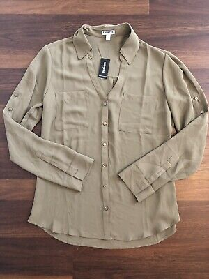 NWT Women's Express Portofino Shirt Adjustable Sleeve Size Medium Army Green