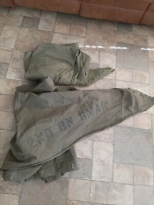 WWII US 2nd battalion 6th Marines USMC Military Canvas Pup Tent 2 Shelter Halves