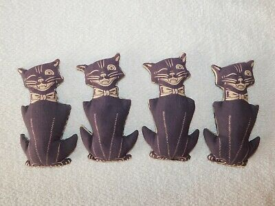 (4) Vintage Hand Sewn Winking Cats