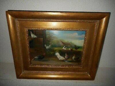 Antique oil painting, { W.A. Lammers ( 1857 - 1913), Landscape with fowl }.