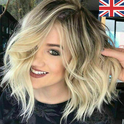 Womens Ladies Bob Wavy Hair Wigs Natural Brown Blonde Short Curly Wig Hen Party