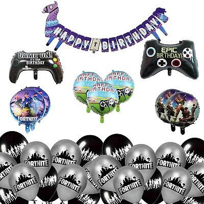 Fortnite Theme Birthday Party Foil and Latex Balloons and Party Supplies