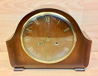 Vintage Smiths Enfield Mahogany Case Mantle Clock.